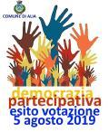 ESITO VOTAZIONE PROGETTI DEMOCRAZIA PARTECIPATIVA (5/08/2019).