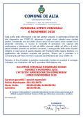 CHIUSURA UFFICI COMUNALI 6 NOVEMBRE 2020 PER SANIFICAZIONE.